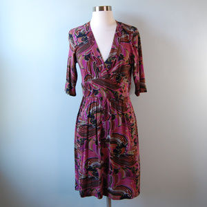 {Trina Turk} Floral V Neck Faux Wrap Dress Size 4
